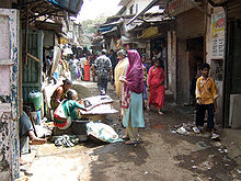 Crowded street in Dharavi section of Mumbai