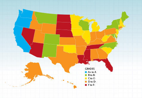 Color-coded map of states' grades